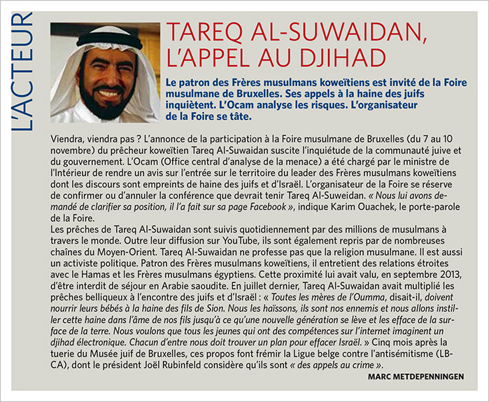Le prédicateur antisémite koweïtien Tareq Al-Suwaidan, invité d'honneur à la Foire musulmane de Bruxelles